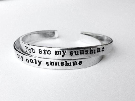 friendship bracelets set of 2 best friend jewelry - you are my sunshine hand stamped aluminum bracelet