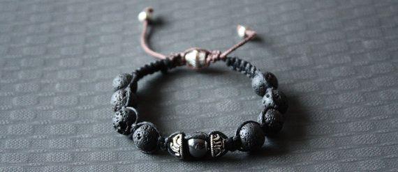 Shambala Bracelet Lava Rock/Hematite Beads by BoogeJewellery, $39.00