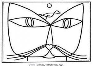 Coloriage Paul Klee Chat et oiseau