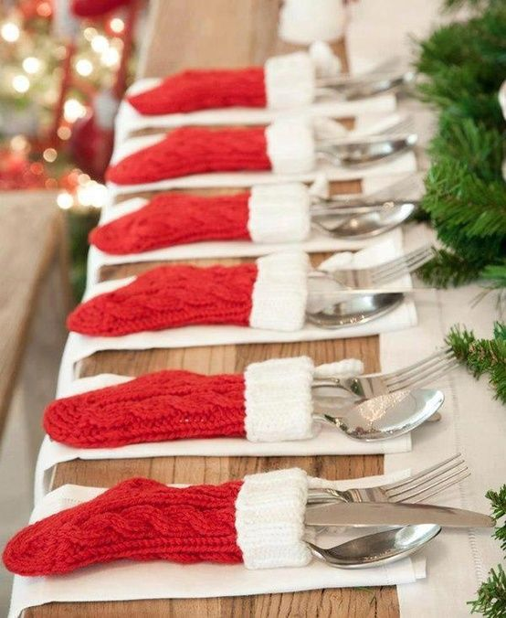 Dollar store stockings as place setting decor. I actually do this at christmas with my nan (11 of us in total) and grandad who put lottery tickets inside and chocolate (;