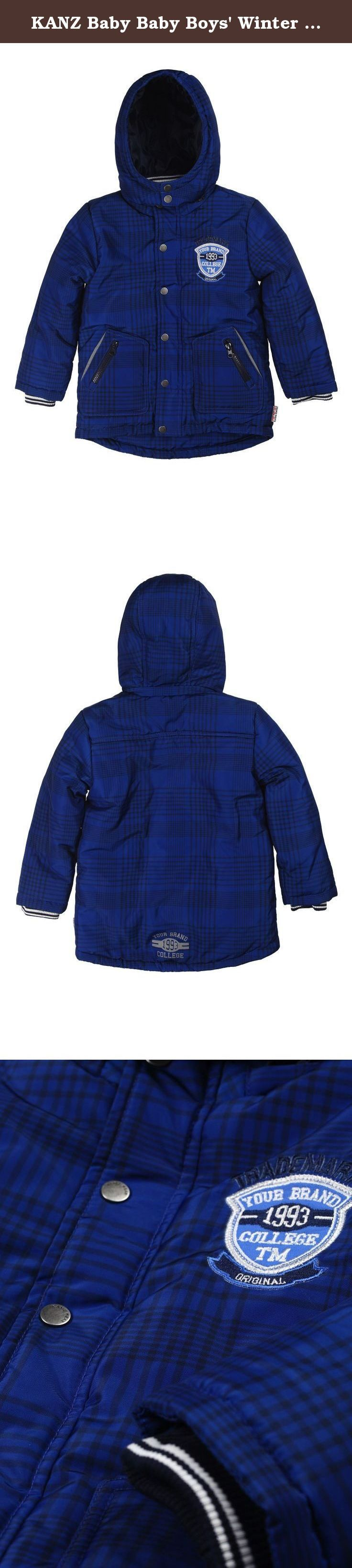 KANZ Baby Baby Boys' Winter Coat, Mazarin Blue, 12 Months. Detachable hooded coat.