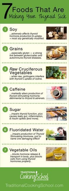 7 Foods That Are Making Your Thyroid Sick | Every cell in the body depends on thyroid hormones for regulation of their metabolism. So if your thyroid is sick, your entire body will suffer. Learn about the 7 foods that are detrimental to your thyroid and the science behind WHY they're causing thyroid diseases like Hashimoto's and hypothyroidism. | TraditionalCookingSchool.com #Dietandyourthyroid