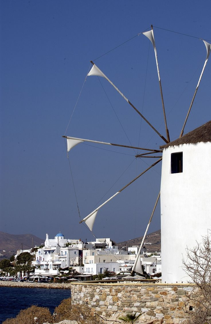 One of our windmills in #Parikia, #Paros. You will see windmills like this one in almost every part of our island.