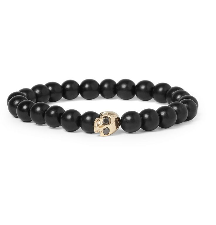 Luis Morais Black Diamond-Embellished Gold and Ebony Bead Bracelet | MR PORTER