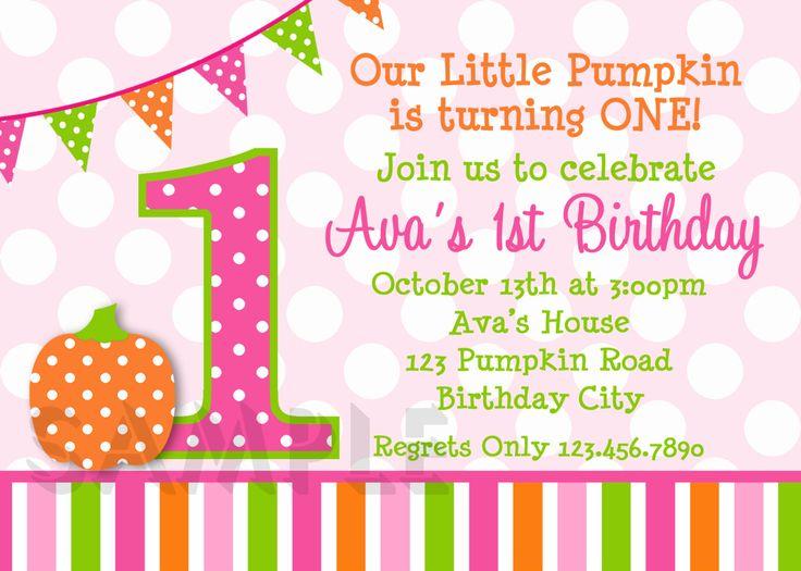 Pumpkin Invitation  Polka Dot  Pumpkin 1st Birthday Party Invitation