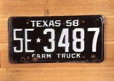 1958 Vintage Rustic Texas Farm Truck License Plate. 5E3487