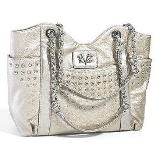 Kathy Van Zeeland Metallic Color Handbag Shoulder Purse With Chain Double Strap #KathyVanZeeland #ShoulderBag