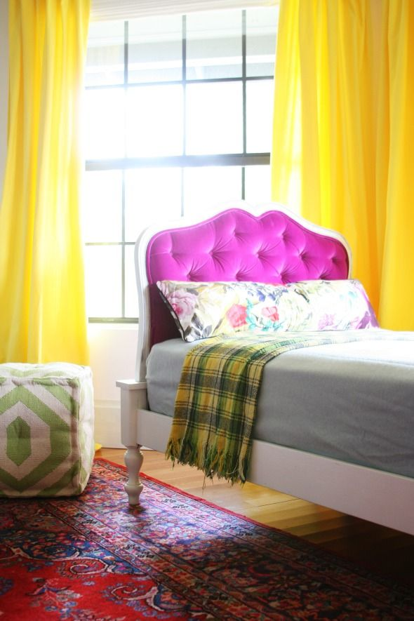 DIY Tufting Technique via LGN: Green Notebooks Girls, Tufted Headboards, Yellow Curtains, Velvet Headboards, Color Combinations, Bedrooms, Little Green Notebooks, Girls Rooms, Bright Colors