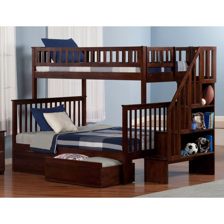 Atlantic Woodland Staircase Bunk Bed Twin over with Flat Panel Bed Drawers in Walnut