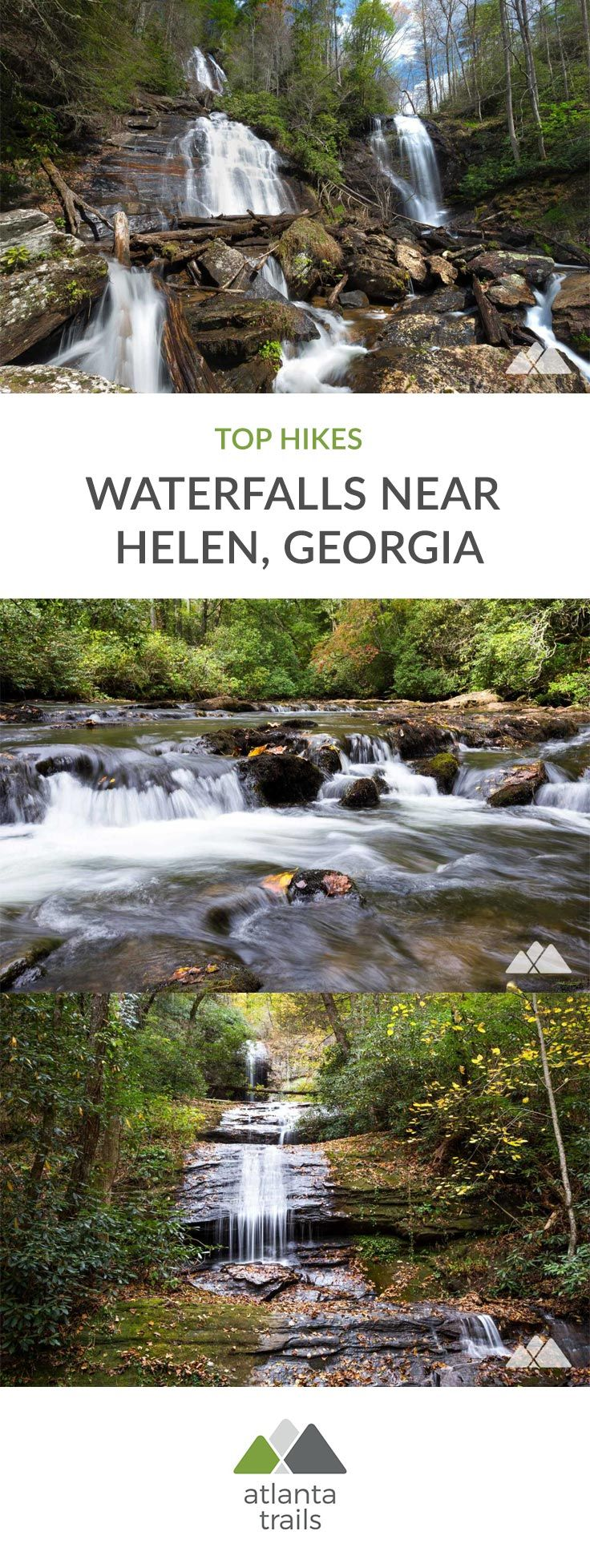 Hike these scenic trails to our favorite waterfalls near Georgia's alpine mountain town of Helen, exploring wildflower-filled creek valleys, tumbling waterfalls, and rocky, mossy forests.