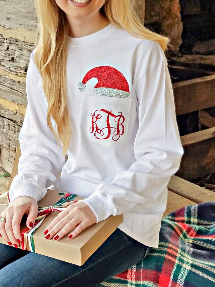 Monogrammed Santa Shirt ~ Cute Santa Hat Monogram Shirt by EverlyGrayce on Etsy