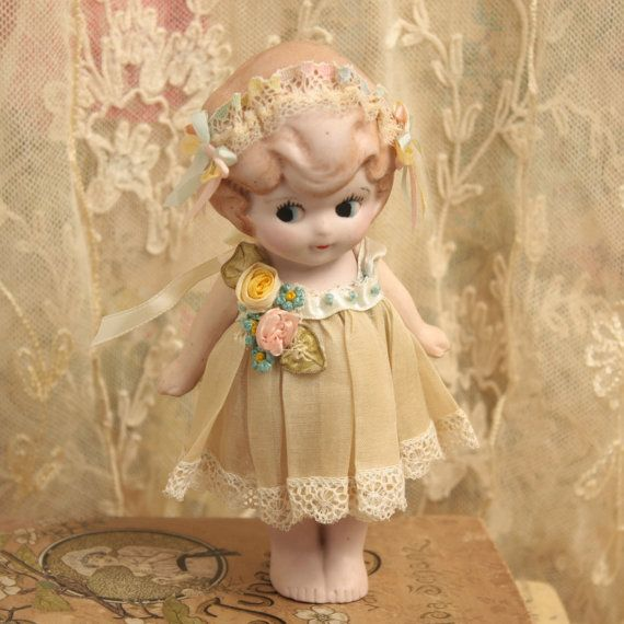Antique 1920's Bisque Doll Articulated Arms Ribbon Work