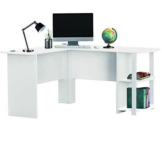 LIVIVO ® Large Stylish L Shaped Wooden Corner Office Desk with Book Shelves, Large Top Surface and Wire Grommets - The Perfect Stylish Workstation for your Home Office Room or Study - Ideal for Writing Computer PC Laptop (White)