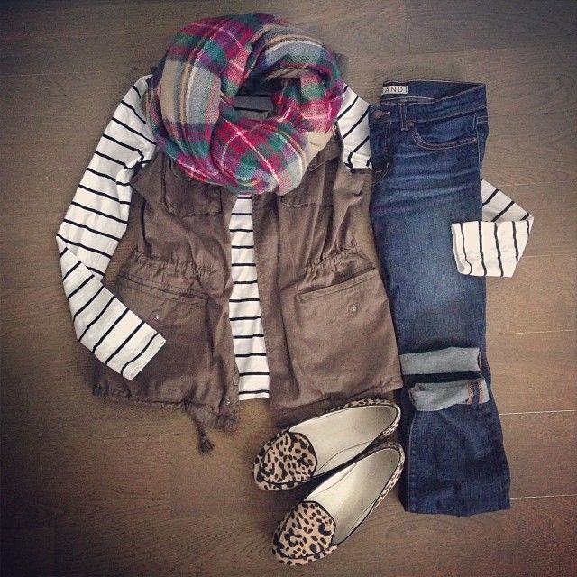 gold jewelry online shopping india Casual layers in mixed prints for fall  army vest  plaid scarf  stripe tee  leopard loafers and boyfriend jeans