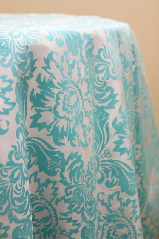 Turquoise Amp White 120 Round Damask Tablecloth New