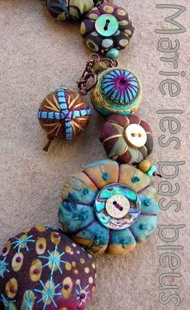Fabric beads. ça n'a pas l'air très compliqué, et ça peut donner des résultats très différents selon les tissus et ornements, en un rien de temps.