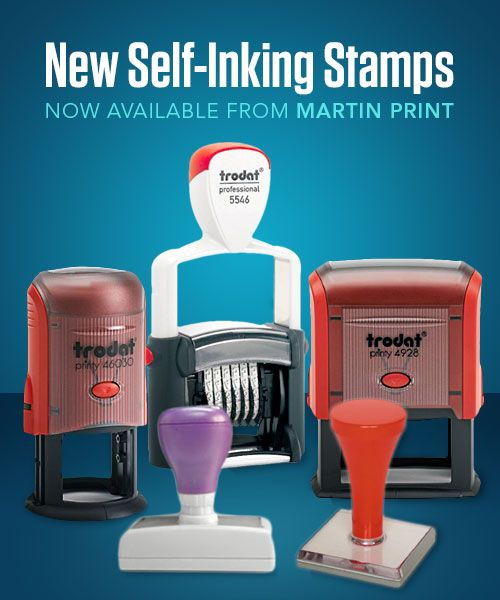 Stamp your dates, phrases, business logos and custom artwork designs onto all of your outgoing office communications and marketing material.  Rubber Self-Inking Stamps, Multi-Colour Self-Inking Stamps, Adjustable Date Stamps and Permanent Stamps for Glossy Surfaces are all now available from Martin Print.  Alternatively, if you prefer the classic approach, you can choose from a new range of sturdy Traditional Hand-Style Stamps.
