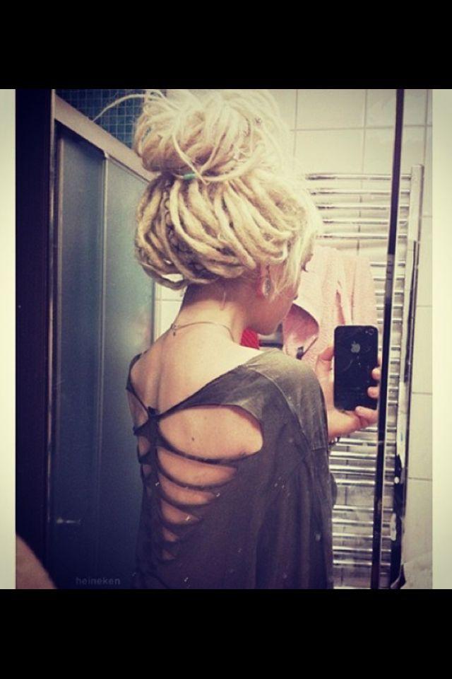 Dreads, blonde dreads, cut up tshirt