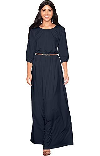 be73b3ed29 KOH KOH Womens Long 3 4 Sleeve Pleated Vintage Solid Fall Winter Maxi Dress