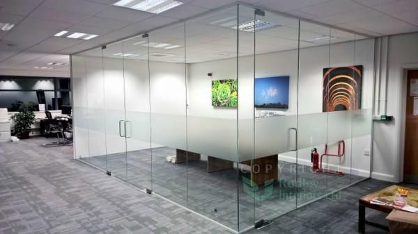 Opal frost #manifestation applied to frameless glass office! Excited to see this project as a case study on our site!