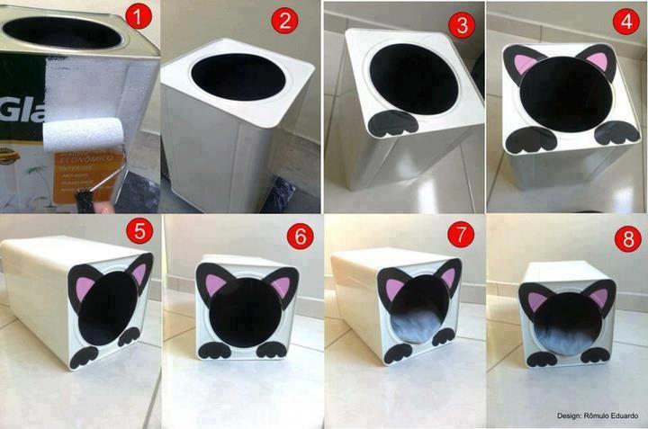 Faça você mesmo uma casinha pro seu animal de estimação! #decoração #artesanato #cachorros #gatos #casa