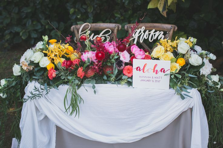 Kiahuna Plantation Resort with Aloha Bridal Connections & Jenna Lee Pictures. Florals by Kealoha Flowers, chair adornments by Hawaii Calligraphy.