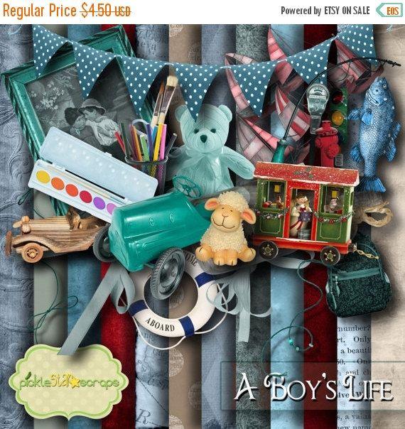 ON SALE A Boy's Life Boy Scrapbooking Kit Boy by PickleStarScraps