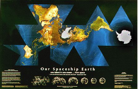 Our Spaceship Earth Satellite Self Portrait Dymaxion Map -- spectacular -- must be seen -- a truly stunning, cloud-free image of our world