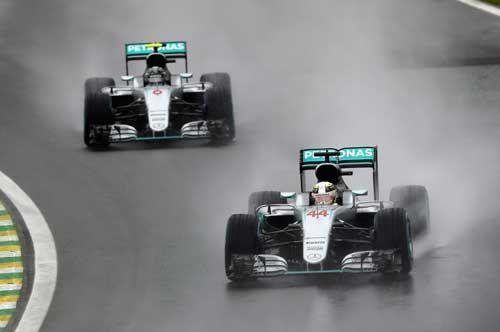 Lewis Hamilton / Mercedes AMG Petronas leads team mate Nico Rosberg during the F1 Grand Prix of Brazil