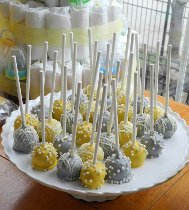 Gray and Yellow cake pops, I made for Laura's baby shower