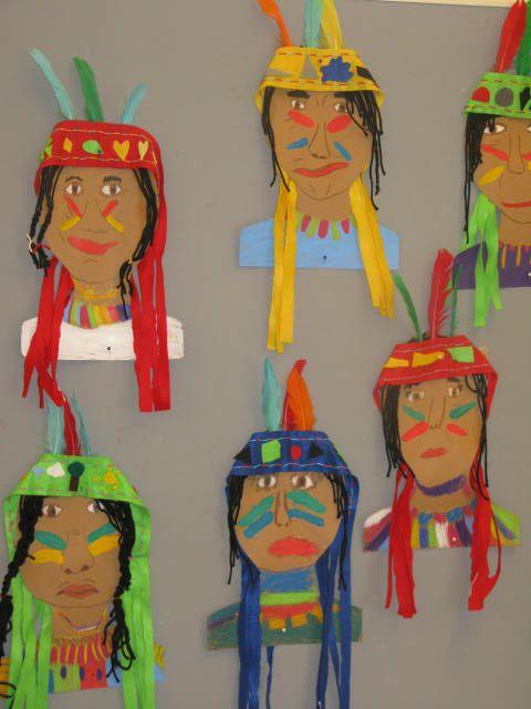 Peindre des visages d'indiens sur du carton, ajouter les peintures de guerre. Bandeaux réalisés en feutrine, papier crépon et plumes, cheveux en laine...