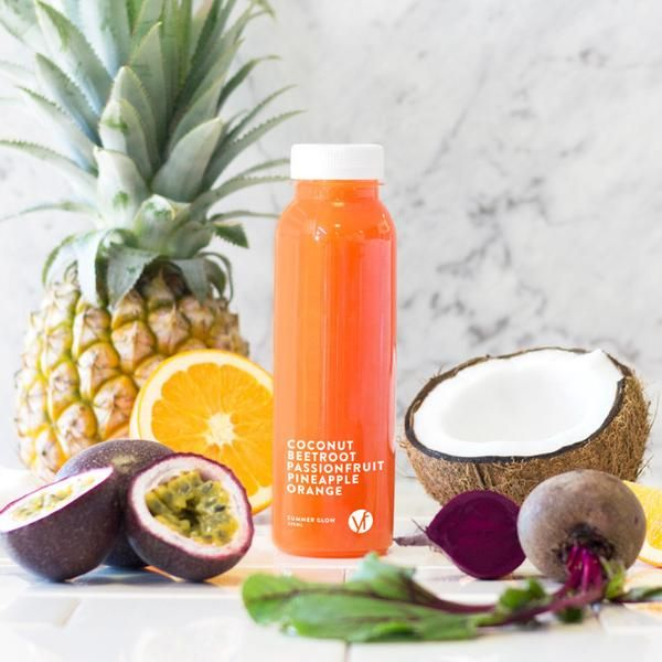 YouFoodz | Cold Pressed Juice - Summer Glow $4.95 | Delicious flavours of summer; fresh oranges and sweet pineapple are blended with a splash of passionfruit and beetroot, mixed together with a cooling hit of coconut water | #Youfoodz #HomeDelivery #YoullNeverEatFrozenAgain