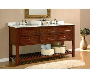 J International Espresso Mission 70 Inch Turnleg Double Vanity , Carrera  Marble Double Sink Bathroom Vanities In Bathroom Vanities