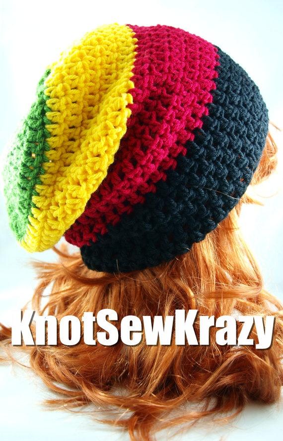 Rasta Slouchy Crochet Beanie www.KnotSewKrazy.etsy.com www.facebook.com/KnotSewKrazy