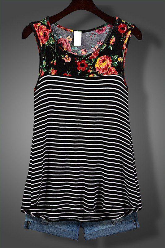 Black Floral Sleeveless Striped Tank Top