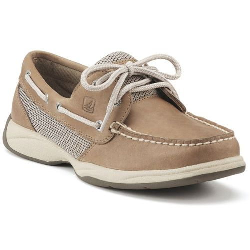 Sperry Top Sider Tan Leather Intrepid Linen-Mesh Womens Boat Shoes ...