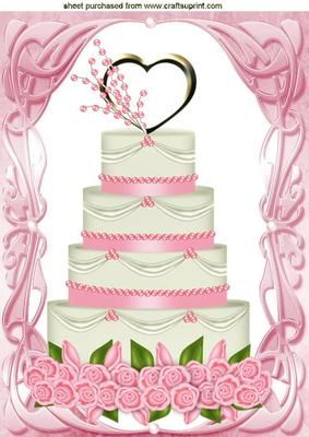 PINK ICING WEDDING CAKE WITH ROSES A4 on Craftsuprint - Add To Basket!