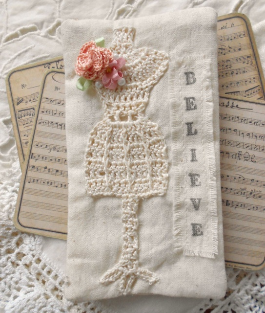 A Petite Cottage, tatted/crochet dress form on cloth~❥