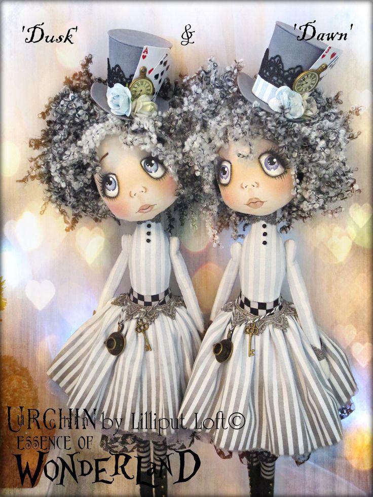Urchin Art Dolls by Vicki at Lilliput Loft ~ 'Dusk & Dawn'
