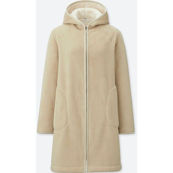 UNIQLO Women's Pile-lined Fleece Long-sleeve Coat (38 CAD) ❤ liked on Polyvore featuring outerwear, coats, natural, knee length coat, uniqlo, insulated coat, fleece lined coat and long sleeve coat
