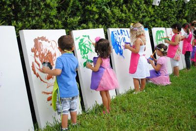 "Art party for kids! The blank ""canvas"" are cardboard boxes that makes it easy for the kids to paint."