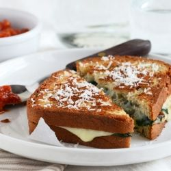 Spinach-Mozzarella Grilled Cheese (For National Grilled Cheese Month!)...inspired by the calzone.