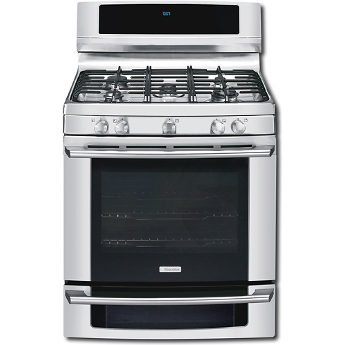 Stainless steel dual fuel oven. Self cleaning mode, delay bake option, and sabbath mode.