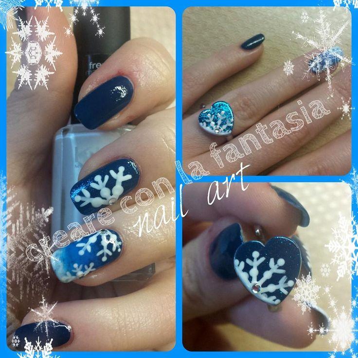 Fiocco di neve... e anello ringbow in tema! #nailart #smalto #unghie #nails #natale #neve #ringbow