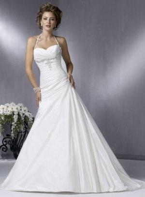 Spaghetti Halter Strap Sweetheart A-line Wedding Dress WN0077