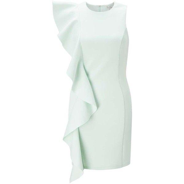Miss Selfridge PREMIUM Waterfall Scuba Mini Dress (345 RON) ❤ liked on Polyvore featuring dresses, mint green, mint short dress, mint dresses, mini dress, short green dress and green color dress