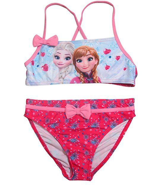 Frozen Bademode Die Eiskönigin 2016 Kollektion 98 104 110 116 122 128 Anna und Elsa Badeanzug oder Bikini zur Auswahl Neu Völlig Unverfroren (122 - 128, Bikini Fuchsia)