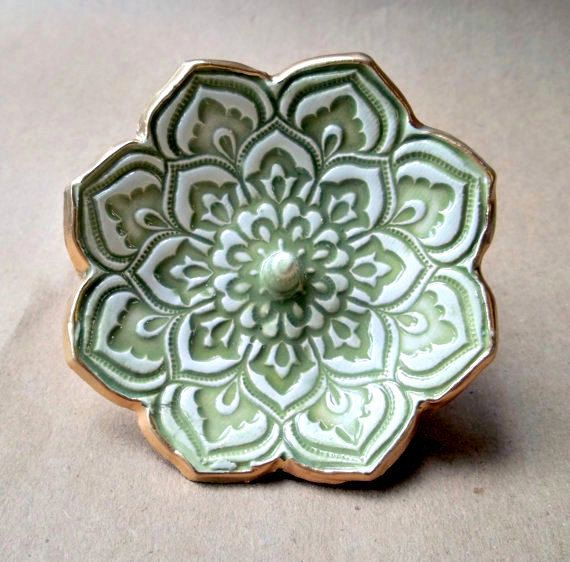 Ceramic Lotus Ring Holder Bowl Sage green. $14.00, via Etsy, by dgordon