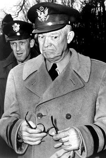 """General Dwight D. Eisenhower was chatting with two French generals and a handful of press representatives  when Associated Press correspondent Dick O'Malley commented: """"General, have you heard the news about Gen. MacArthur?"""" . Eisenhower: """"No, what happened? M: """"He's been relieved of his Far East command by President Truman and replaced by General Ridgeway."""" Eisenhower turned away and said, """"I'll be darned.""""  General Douglas MacArthur was fighting the Korean War in the Far East at the time."""
