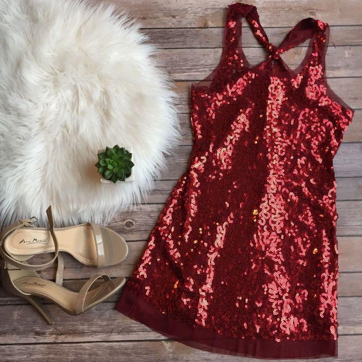 Sequin Tank Dress Red Deb Womens M Sheer Mini Stretch Sparkle Juniors #Deb #SlipDressALineDress